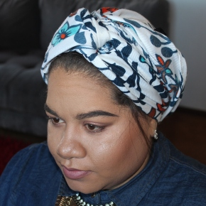 Easy (No Pins) Turban Tutorial + Everyday Makeup Look : Hean Sculpting Facial Palette