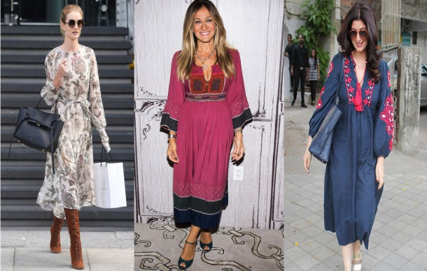 City Girl Vibe x Celebs wearing the peasant dress